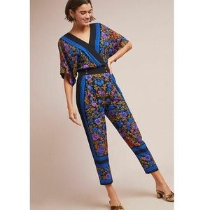 Anthropologie Ett Twa Scarf-Printed Jumpsuit